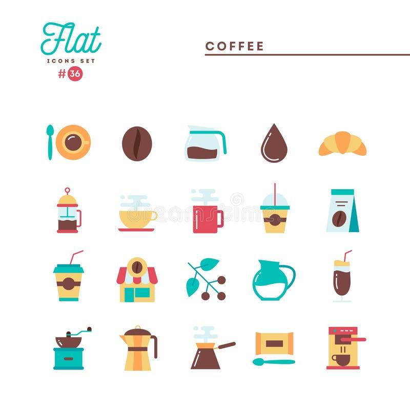 Kaffe plan symbolsuppsättning vektor illustrationer