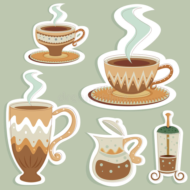 kaffe planlägger vektorn stock illustrationer