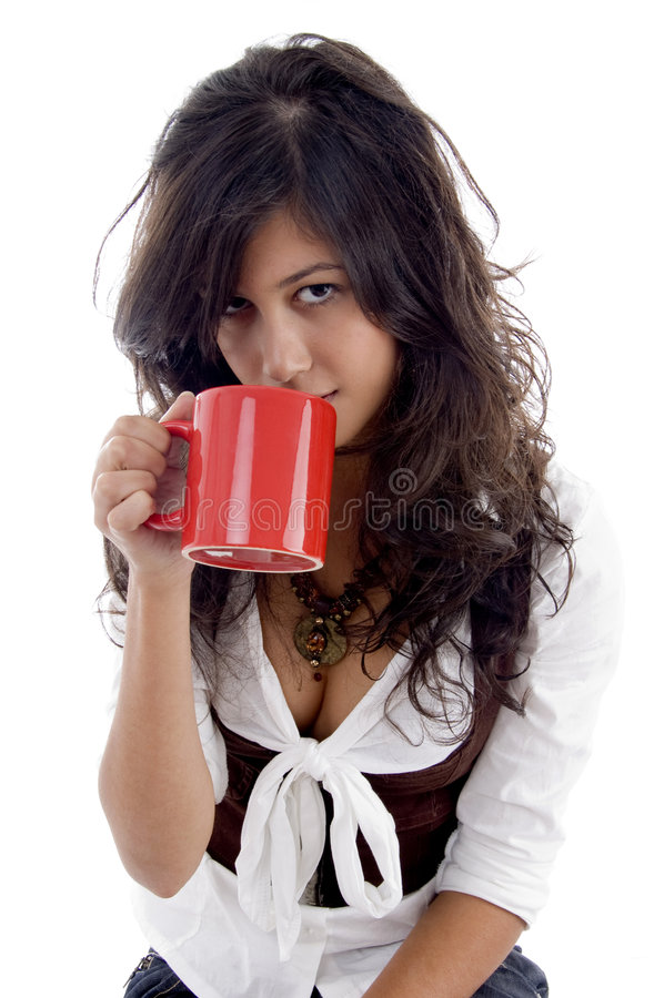 Kaffe Rånar Den Posera Sexiga Tonåringen Royaltyfria Bilder