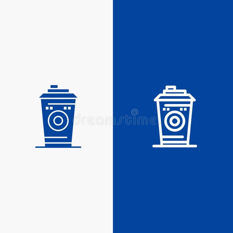 Kaffe rånar, Starbucks, för linje för svart kaffe och för skåra banret för den blåa för baner för fast symbol det blåa symbolen f stock illustrationer