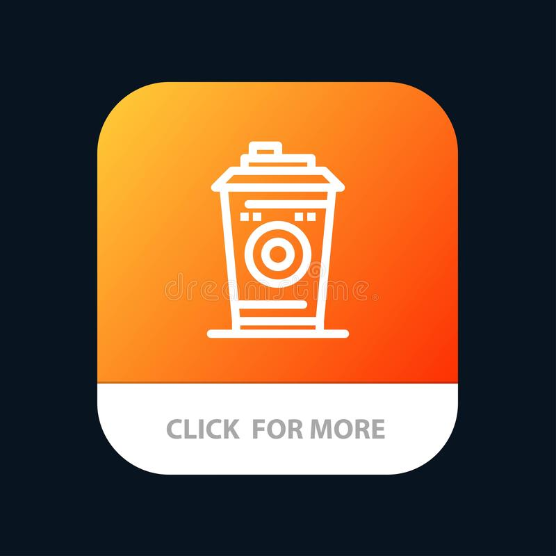 Kaffe rånar, Starbucks, för mobilApp för svart kaffe knapp Android och IOS-linje version royaltyfri illustrationer