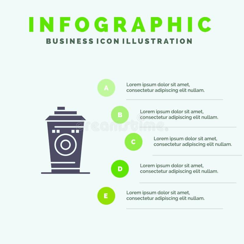 Kaffe rånar, Starbucks, för symbolsInfographics 5 för svart kaffe fast bakgrund för presentation moment stock illustrationer