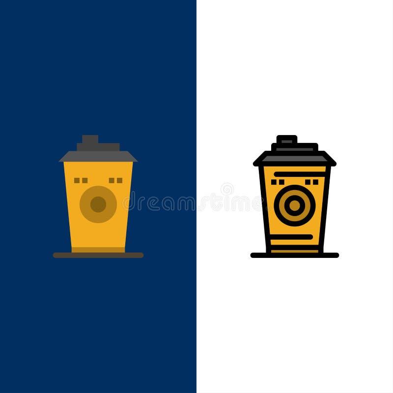 Kaffe rånar, Starbucks, symboler för svart kaffe Lägenheten och linjen fylld symbol ställde in blå bakgrund för vektorn vektor illustrationer