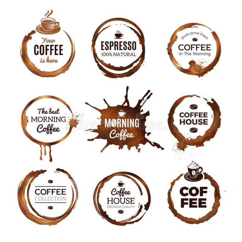 Kaffe ringer etiketter Emblem planlägger med cirklar från mall för vektor för kopp för te- eller kaffeespressomocka med stället f vektor illustrationer