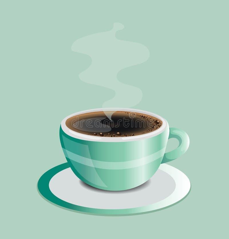 Kaffe som är varmt av den gröna koppen royaltyfri illustrationer