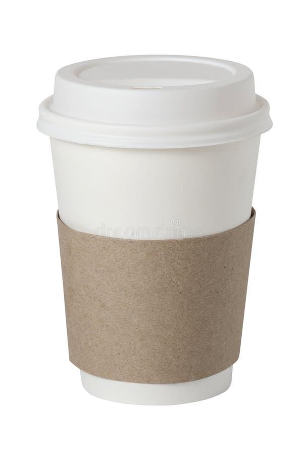 Kaffe som dricker den pappers- koppen som isoleras på vit royaltyfria foton