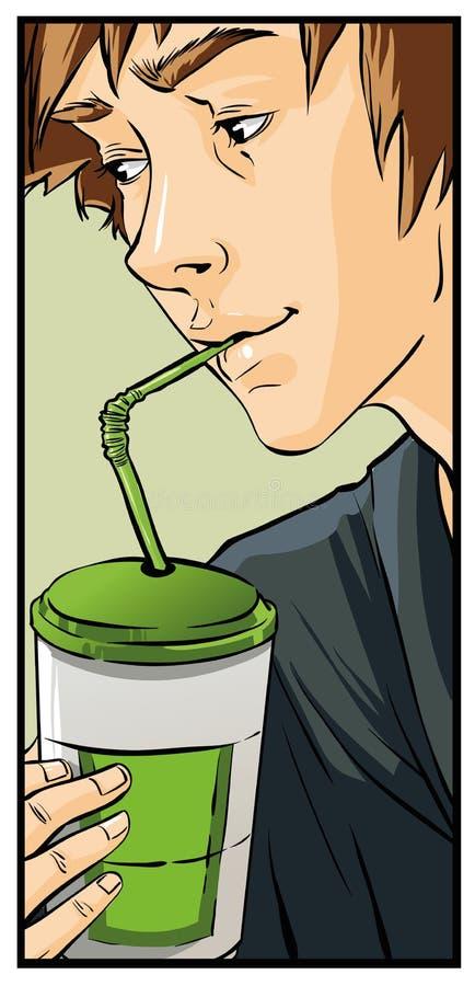 Kaffe som dricker tonåringen, ung man arkivfoto