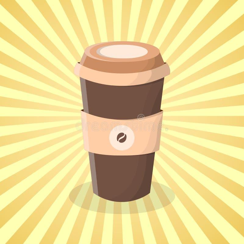 Kaffe som går - den gulliga tecknade filmen färgade bilden Beståndsdelar för grafisk design för menyn, förpacka som annonserar, a vektor illustrationer