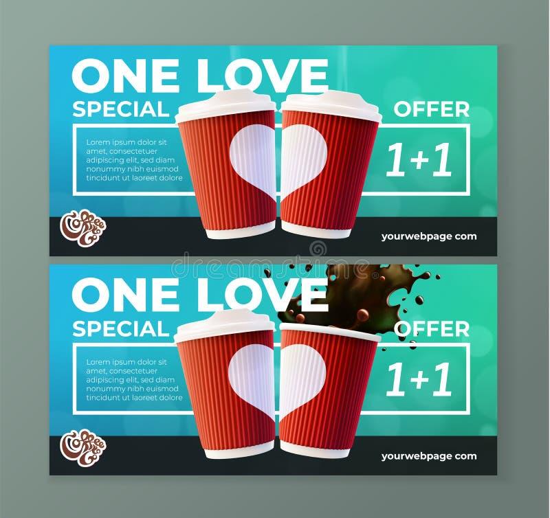 Kaffe som går förälskelsekaffereklamblad stock illustrationer