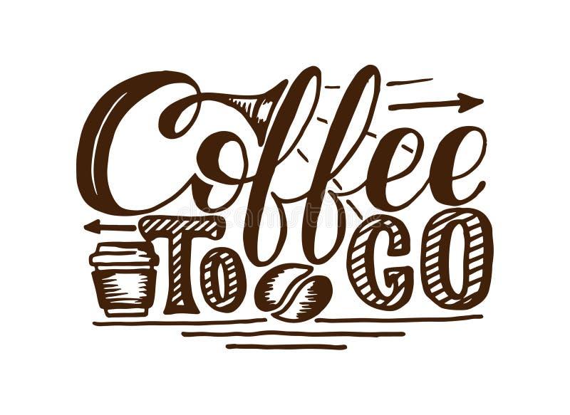 Kaffe som går illustration för handattraktionlogo med bokstäver vektor illustrationer