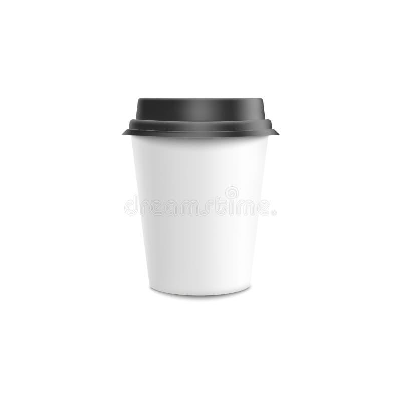 Kaffe som går modellvektorillustration - vitt tomt papper eller plast- kopp med det svarta locket stock illustrationer