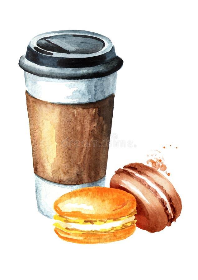Kaffe som går pappers- kopp och traditionell fransk kakamakron Dragen illustration för vattenfärg som hand isoleras på vit bakgru stock illustrationer