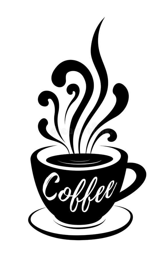 Kaffe stiliserade bokstäver på kaffekoppen med drog vektorillustrationen för ånga handen på vit bakgrund stock illustrationer
