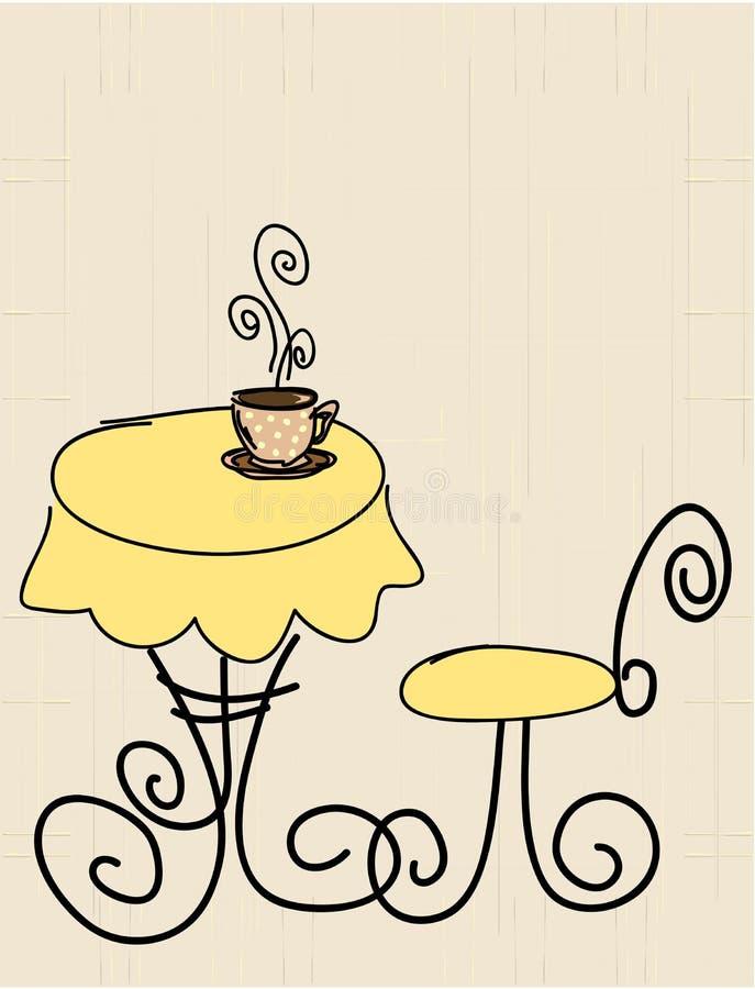 kaffe stylized tabell royaltyfri illustrationer