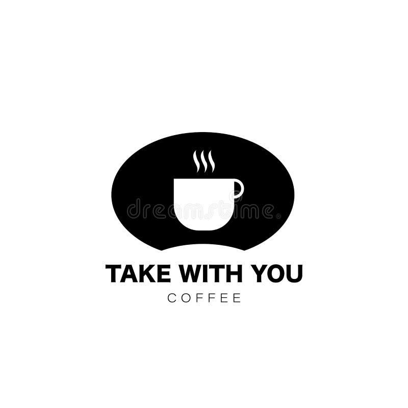 Kaffe tar med dig Koppsymbol i plan stil Drinkkaffe på arbete vektor vektor illustrationer
