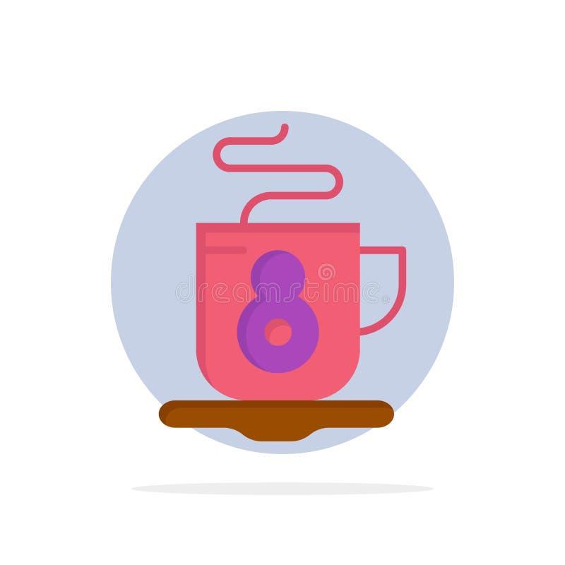 Kaffe te, symbol för färg för varm abstrakt cirkelbakgrund plan royaltyfri illustrationer