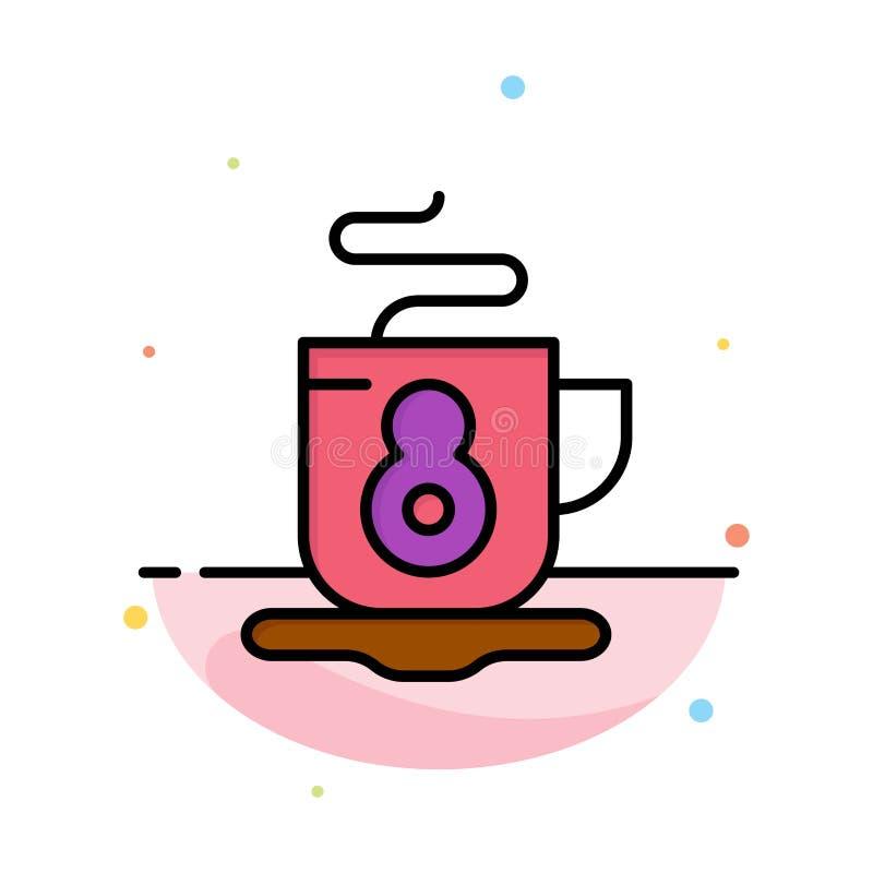 Kaffe te, varm abstrakt plan färgsymbolsmall royaltyfri illustrationer