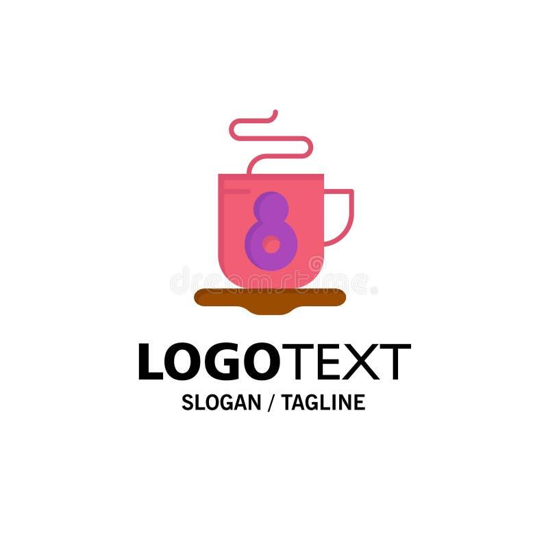 Kaffe te, varm affär Logo Template plan f?rg royaltyfri illustrationer
