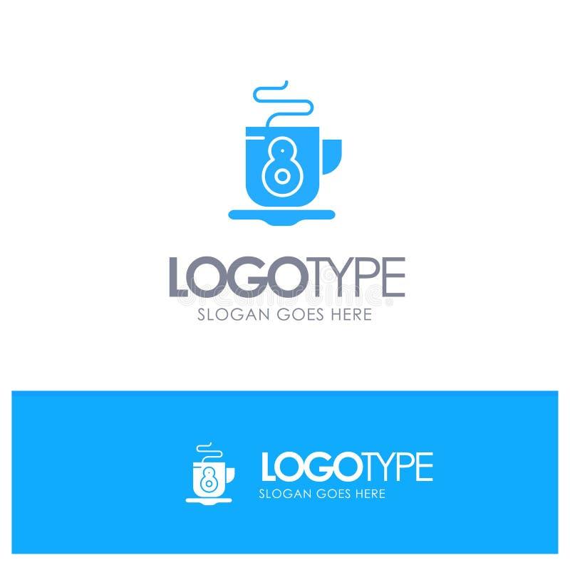 Kaffe te, varm blå logovektor royaltyfri illustrationer