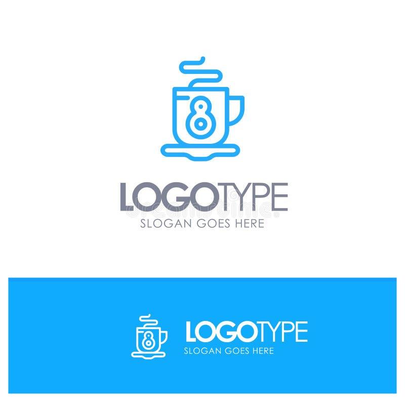Kaffe te, varm blått Logo Line Style royaltyfri illustrationer