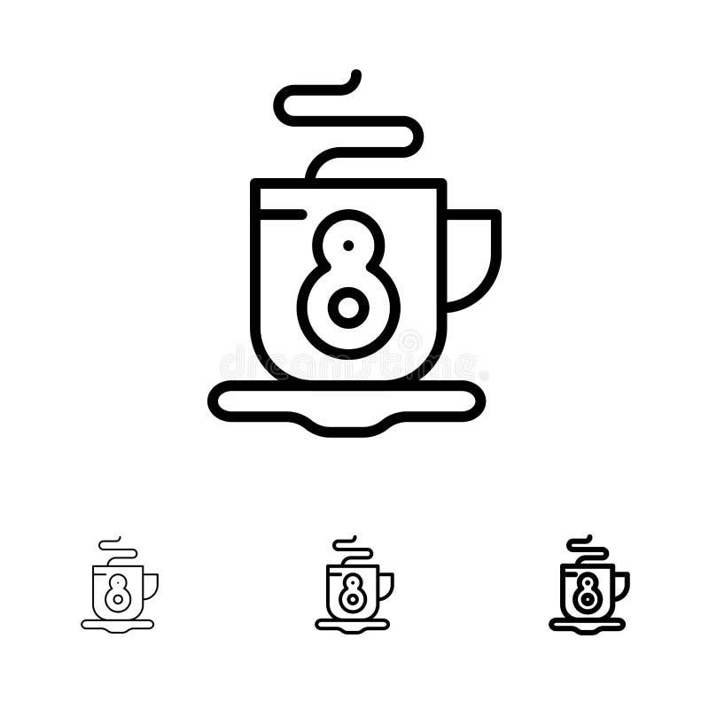Kaffe, te, varm djärv och tunn svart linje symbolsuppsättning stock illustrationer