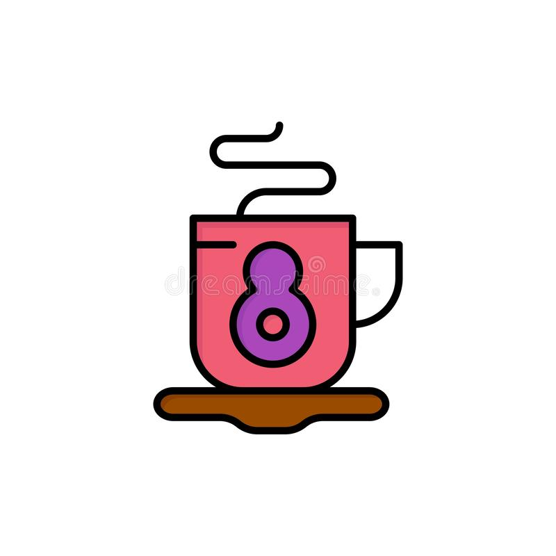 Kaffe te, varm plan färgsymbol Mall för vektorsymbolsbaner royaltyfri illustrationer