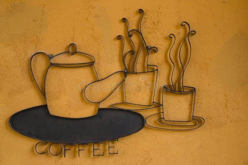 Kaffe undertecknar stock illustrationer
