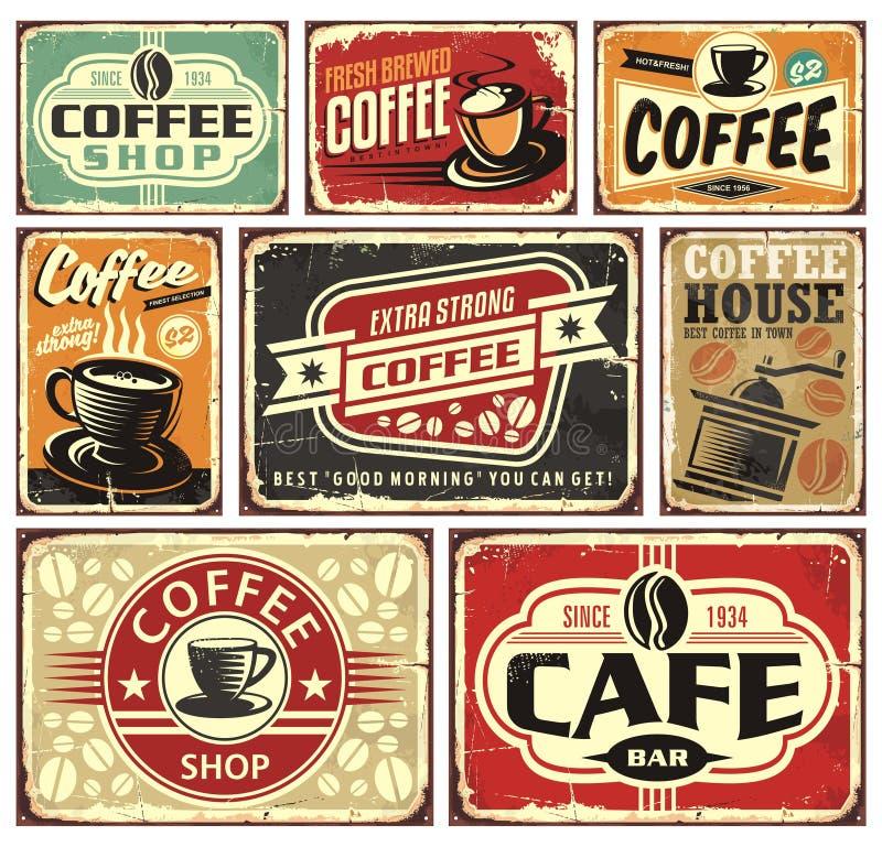 Kaffe undertecknar och märker samlingen stock illustrationer
