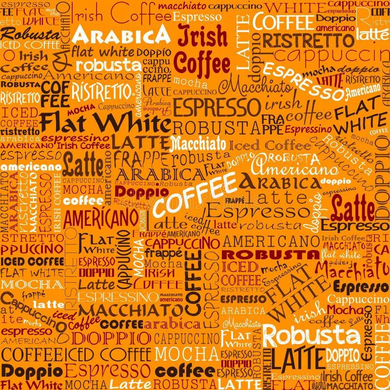 Kaffe uttrycker sömlösa bakgrundsetiketter vektor illustrationer
