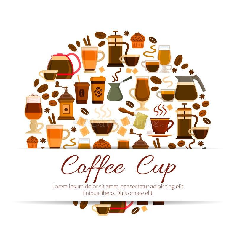Kaffeaffisch av espresso, varma drinkkoppar för latte stock illustrationer