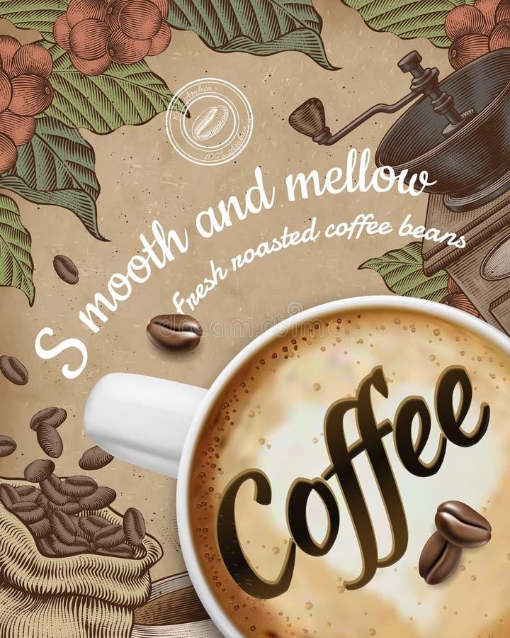 Kaffeaffischannonser royaltyfri illustrationer