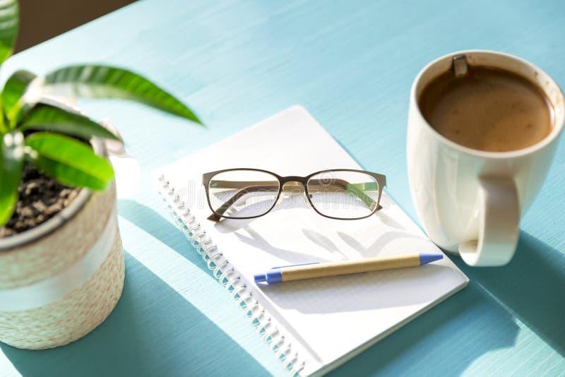 Kaffeanteckningsbok, växt och glases på en blå trätabell på en su royaltyfria bilder