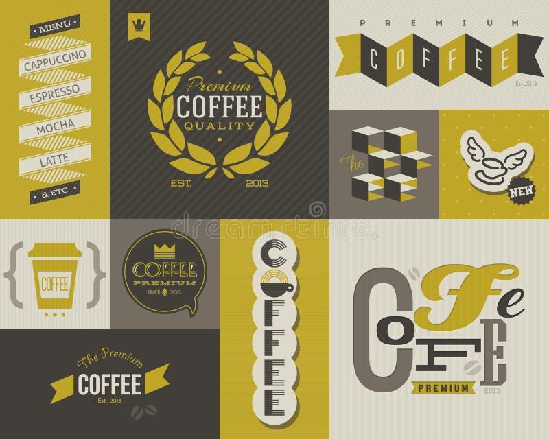 Kaffeaufkleber und -abzeichen. Satz vektorentwurfselemente. vektor abbildung