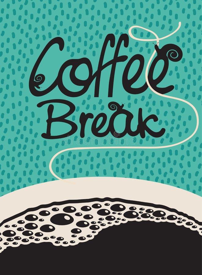 Kaffeavbrott med en kopp royaltyfri illustrationer