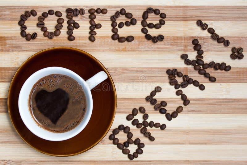 Kaffeavbrott med koppen kaffe royaltyfri bild
