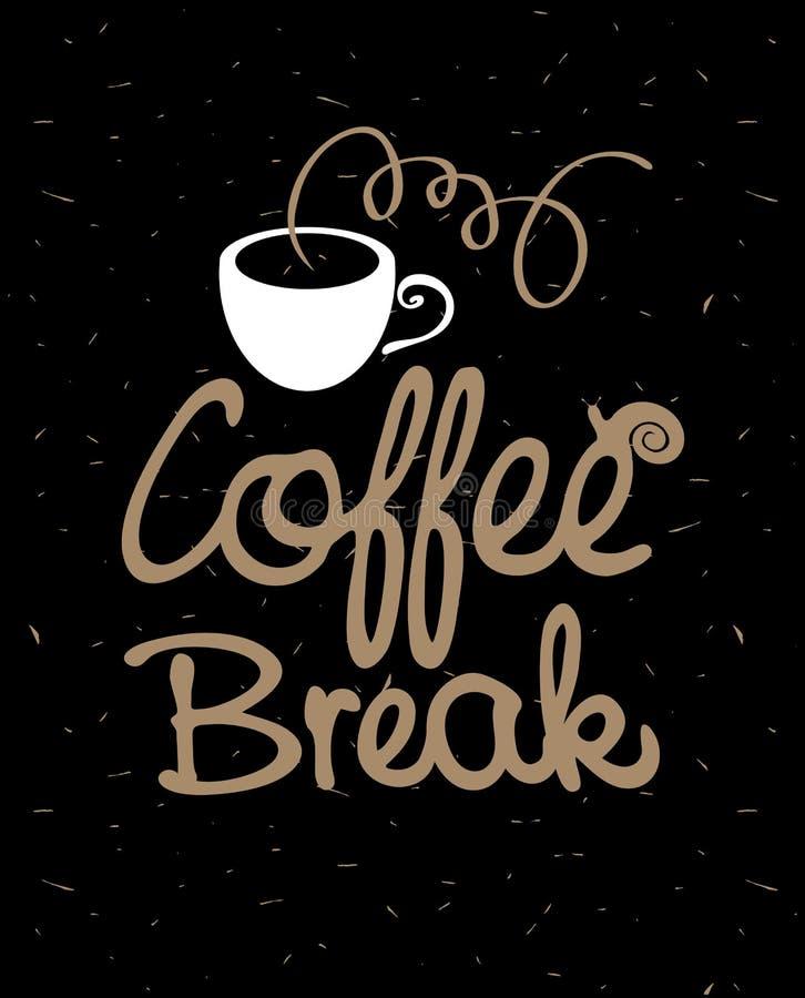 Kaffeavbrott med koppen och snigeln vektor illustrationer