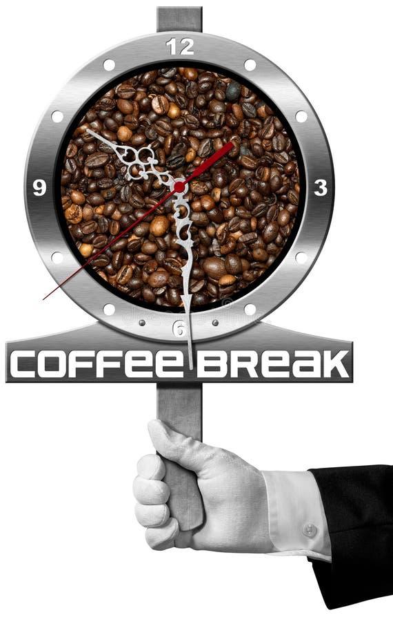 Kaffeavbrott - skylt med kaffebönor vektor illustrationer