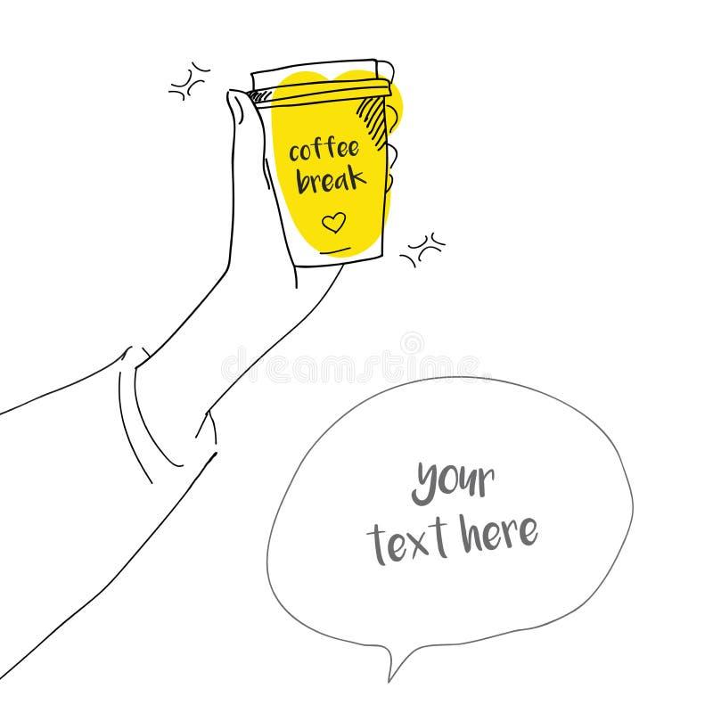 Kaffeavbrottet, klotterstilillustration av en flicka rymmer i hand ett papptakeawaykaffe vektor illustrationer