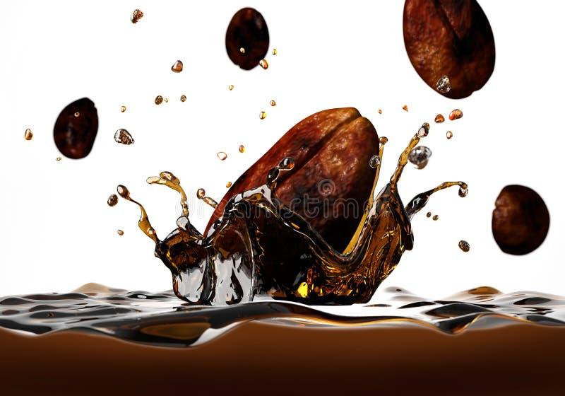 Kaffeböna som faller in i en mörk flytande som bildar en kronafärgstänk. vektor illustrationer