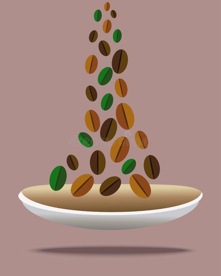 Kaffebönor faller in i en bunke stock illustrationer