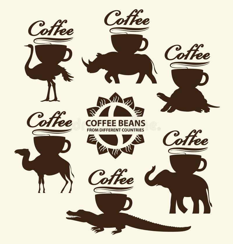Kaffebönor från olika länder vektor illustrationer