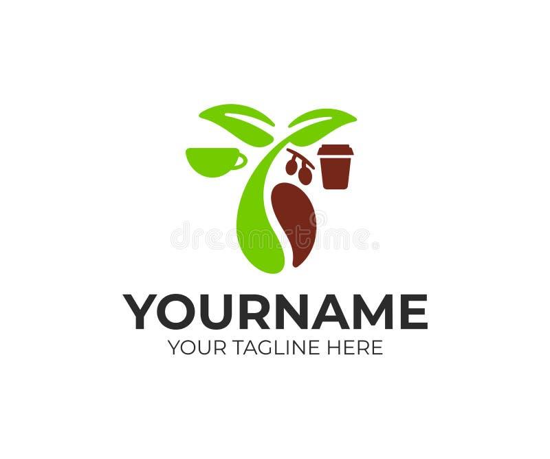 Kaffebönor, grodd, sidor med frukter, kopp och papperskopp, logodesign Mat, drink, varm dryck och kaffehus, vektordesig royaltyfri illustrationer