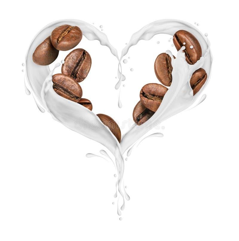 Kaffebönor med färgstänk av mjölkar i formen av hjärtan arkivbilder