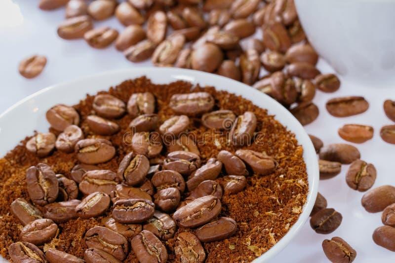 Kaffebönor med kaffepulver arkivfoton