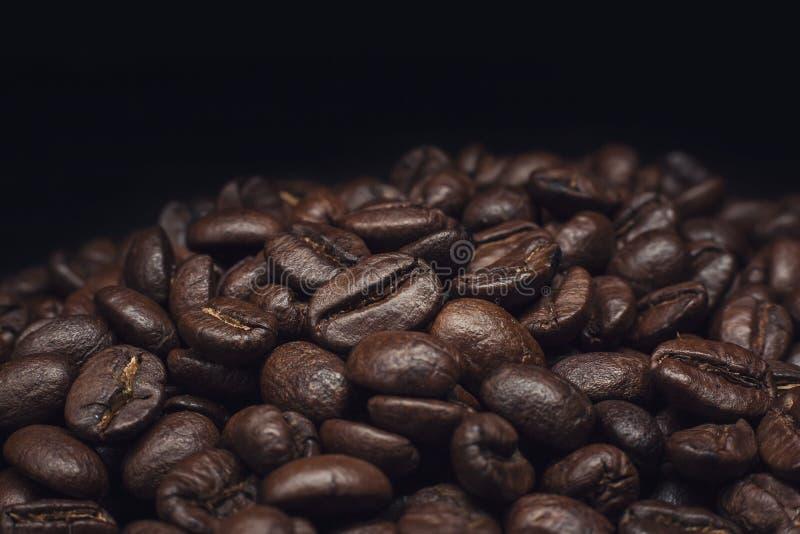 Kaffebönor och kaffebönor och brun vägg royaltyfri bild