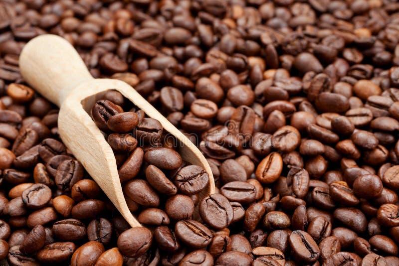 Kaffebönor och kammar hem arkivfoto