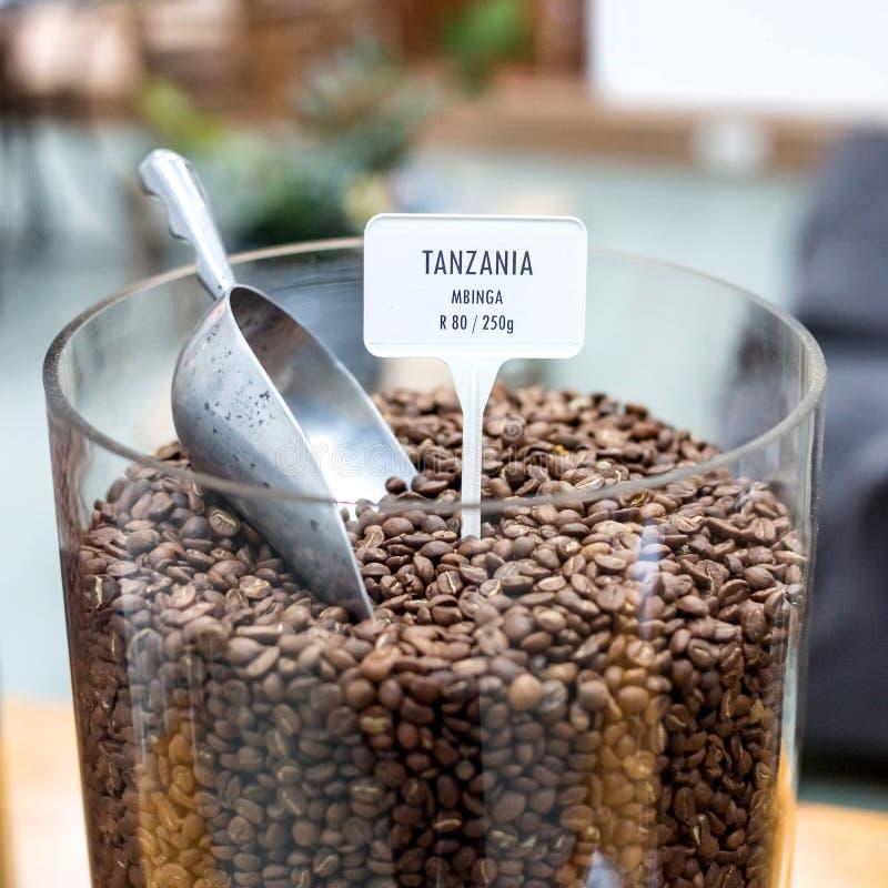 Kaffebönor på skärm i en stor glass krus royaltyfri foto