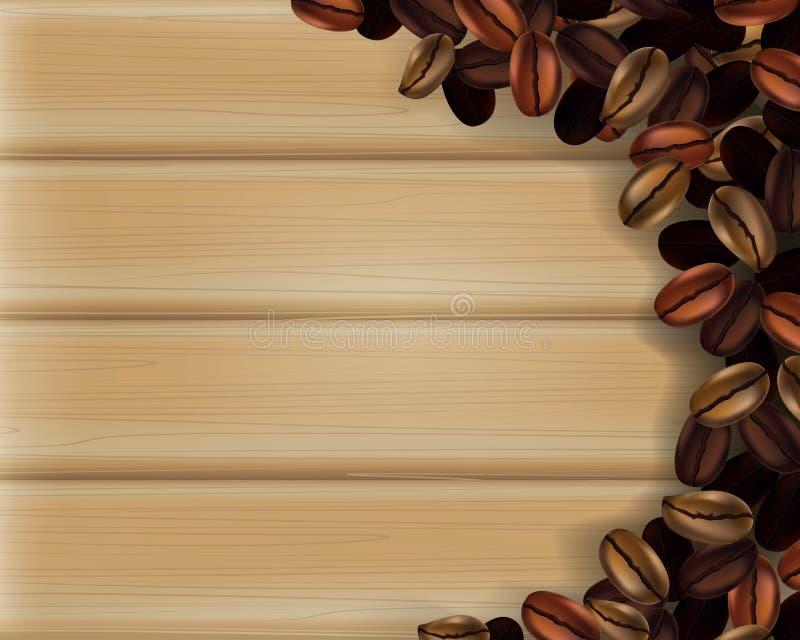 Kaffebönor på träplankabakgrund f?rgrikt b?nakaffe vektor illustrationer