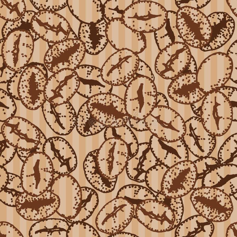 Kaffebönor på vit bakgrund för kraft papper tecknad seamless handmodell royaltyfri illustrationer