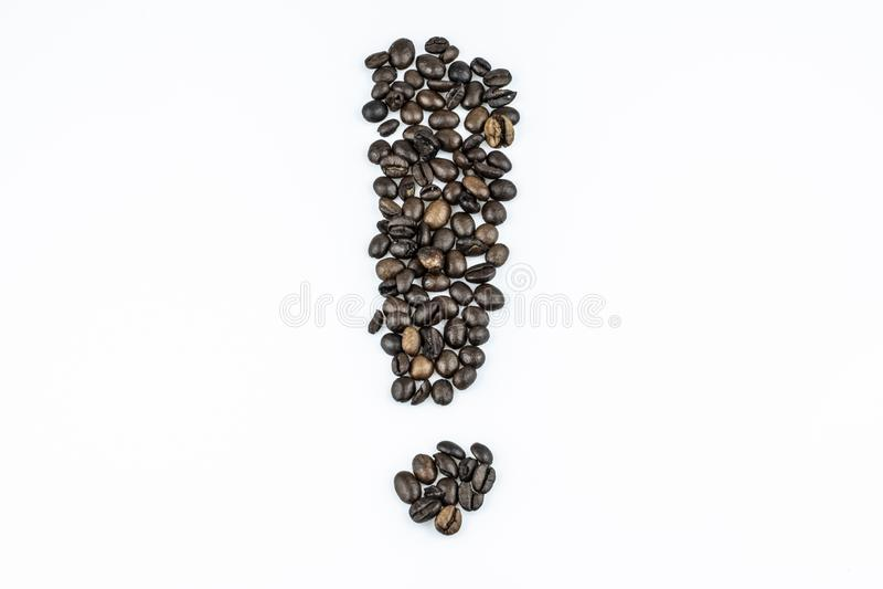Kaffebönor som utrop - som isoleras på vit bakgrund fotografering för bildbyråer